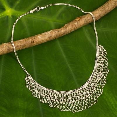 Novica Sterling silver choker, Illusion - Handcrafted Sterling Silver Collar Necklace