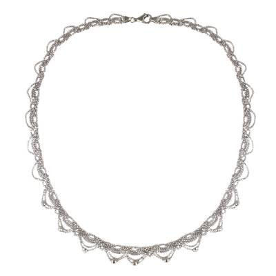 Lacy Sterling Silver Necklace Crafted from Ball Chain