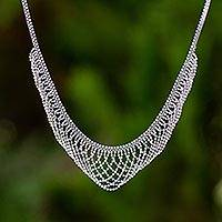 Sterling silver collar necklace, 'Elegant Lace'