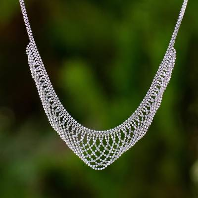 Sterling silver collar necklace, 'Elegant Lace' - Vintage Style Collar Necklace in 925 Sterling Silver