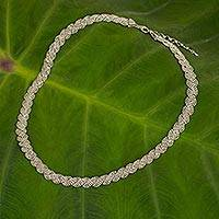 Sterling silver collar necklace, 'Serpentine Chic' - Sterling Silver 925 Necklace with Serpentine Curved Design