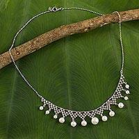 Cultured pearl collar necklace, 'Magnificent Lace' - Collar Style Necklace with Cultured Pearls and Silver