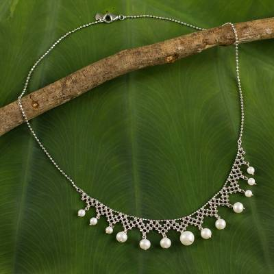 Cultured pearl collar necklace, Magnificent Lace