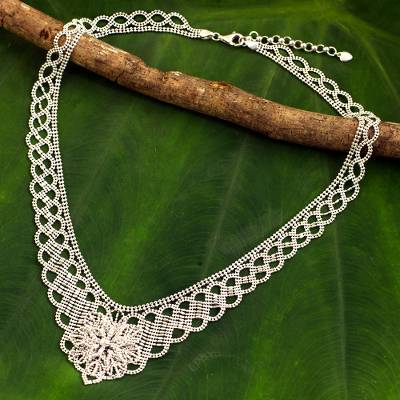 Sterling silver statement necklace, 'Delicate Blossom' - Artisan Crafted Sterling Silver Floral Statement Necklace