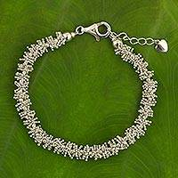 Sterling silver beaded bracelet, 'Thai Garland'
