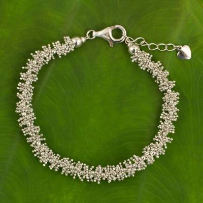 Sterling silver beaded bracelet, 'Thai Garland' - Thai Sterling Silver 925 Beaded Women's Bracelet
