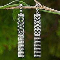 Sterling silver waterfall earrings, 'Mandarin Fringe'
