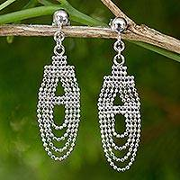 Sterling silver chandelier earrings, 'Ethereal Chandelier' - Unique Sterling Silver Earrings Crafted from Ball Chain