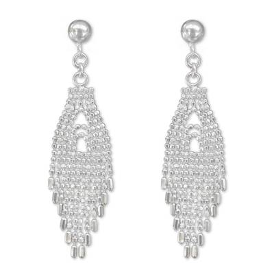 Sterling silver waterfall earrings, 'Thai Fringe' - Sterling Silver 925 Waterfall Earrings from Thai Artisan