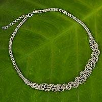 Sterling silver statement necklace, 'Delicate Twist' - Artisan Crafted Sterling Silver Statement Necklace