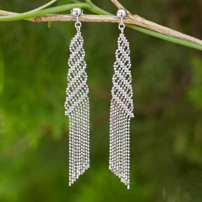 Sterling silver waterfall earrings, 'Chiang Mai Fringe' - Waterfall Style Earrings Crafted from Silver Ball Chain