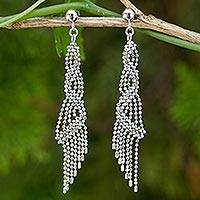Sterling silver waterfall earrings, 'Bangkok Fringe' - Handcrafted Sterling Silver 925 Waterfall Style Earrings