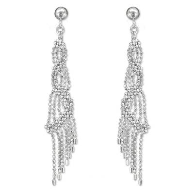 Sterling silver waterfall earrings, 'Bangkok Fringe' - Handcrafted Sterling Silver 925 Waterfall Style Earrings