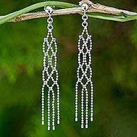 Sterling silver waterfall earrings, 'Thai Macrame' - Waterfall Earrings Crafted from Sterling 925 Ball Chain