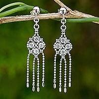Sterling silver waterfall earrings, 'Dazzling Starlight' - Silver and Cubic Zirconia Waterfall Earrings from Thailand