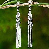 Sterling silver waterfall earrings, 'Helix Fringe' - Fair Trade Sterling Silver Ball Chain Waterfall Earrings