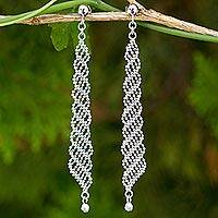 Sterling silver dangle earrings, 'Cascading Rain' - Sterling Silver 925 Beaded Chain Dangle Earrings