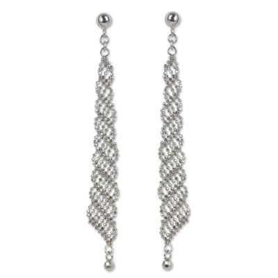 Sterling silver dangle earrings, 'Cascading Rain' - Sterling Silver 925 Beaded Chain Dangle Earrings