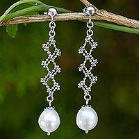 Cultured pearl dangle earrings, 'Ladders of Lace' - Cultured Freshwater Pearl and Silver Dangle Earrings
