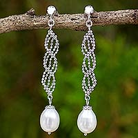 Cultured pearl dangle earrings, 'Modern Macrame' - Artisan Designed Sterling Silver Dangle Earrings with Pearls