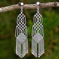 Sterling silver waterfall earrings, 'Macrame Inspiration' - Waterfall Earrings Handcrafted from Sterling Silver Chains