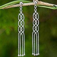 Sterling silver waterfall earrings, 'Lanna Fringe' - Waterfall Earrings Handmade from Sterling Silver