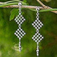 Sterling silver dangle earrings, 'Gingham Trails' - Artisan Crafted Sterling Silver Ball Chain Dangle Earrings