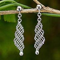 Sterling silver dangle earrings, 'Sparkling Cascade' - Beaded Sterling Silver Dangle Earrings from Thailand