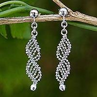 Sterling silver dangle earrings, 'Infinite Grace' - Thai Artisan Handmade Silver Ball Chain Dangle Earrings