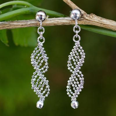Sterling Silver Dangle Earrings Infinite Grace Thai Handmade Ball Chain