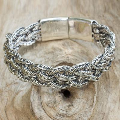 Sterling silver wristband bracelet, 'Borobudur Braid' - Artisan Crafted Thai Sterling Silver Women's Bracelet