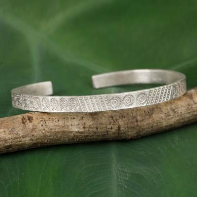1e65fb5bc2c Silver cuff bracelet, 'Hill Tribe Abundance' - Thai Karen Hill Tribe  Handcrafted Silver