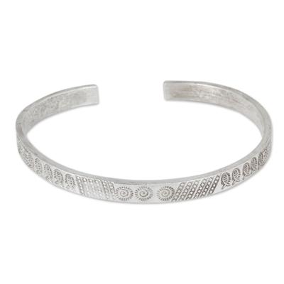 Silver cuff bracelet, 'Hill Tribe Abundance' - Thai Karen Hill Tribe Handcrafted Silver Cuff Bracelet