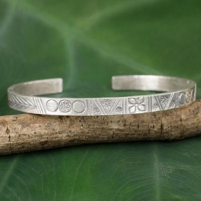 Sterling silver cuff bracelet, 'Karen Tradition' - Karen Hill Tribe Artisan Silver Cuff Bracelet from Thailand