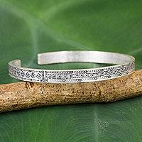 Silver cuff bracelet, 'Karen Tribal Textures' - Silver Cuff Bracelet by Karen Hill Tribe Artisans