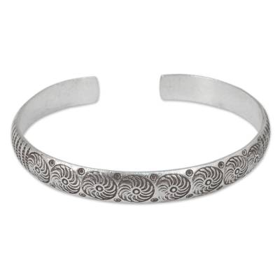 Silver cuff bracelet, 'Karen Whirlwind' - Hand Stamped Karen Hill Tribe Artisan Silver Cuff Bracelet