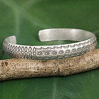 Silver cuff bracelet, 'Karen Flower Garland' - Karen Hill Tribe Artisan Silver Floral Theme Cuff Bracelet