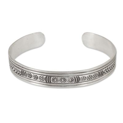 Silver cuff bracelet, 'Karen Magic' - Silver Cuff Bracelet by Thailand Hill Tribe Artisans