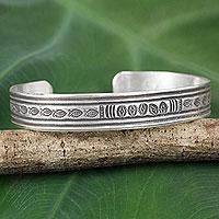 Silver cuff bracelet, 'Karen Tribe River' - Fish Theme Silver 950 Cuff Bracelet by Hill Tribe Artisans