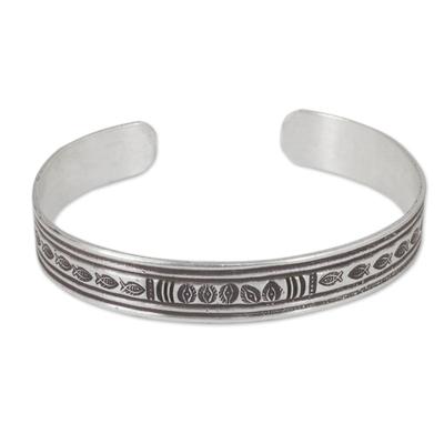 Fish Theme Silver 950 Cuff Bracelet by Hill Tribe Artisans