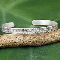 Silver cuff bracelet, 'Karen Floral Meadow' - Flower Theme Hill Tribe Hand Stamped Silver Cuff Bracelet