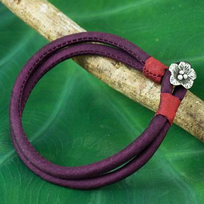 Silver accent silk cord bracelet, 'Purple Karen Blossom' - Handmade Purple Silk Bracelet with Hill Tribe Silver Charm