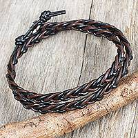 Silver accent leather wrap bracelet, 'Shadow Paths' - Hand Braided Silver Accent Brown and Black Leather Bracelet