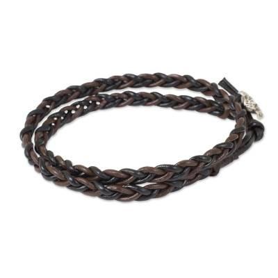 Hand Braided Silver Accent Brown and Black Leather Bracelet