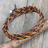 Silver accent leather wrap bracelet, 'Brown Shadow Paths' - Hand Braided Silver Accent Brown Leather Wrap Bracelet