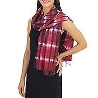 Silk scarf, 'Drama Chic' - Unique Red and Black Tie Dye Silk Scarf from Thailand