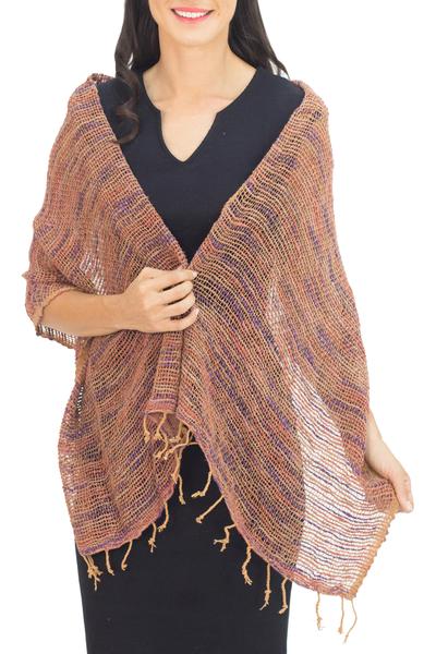 Cotton shawl, 'Breeze of Brown Purple' - Hand Spun Cotton Shawl Wrap in Brown Purple and Pink