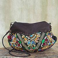 Leather accent shoulder bag, 'Espresso Mandarin Garden' - Embroidered Leather Accent Multicolour Handbag