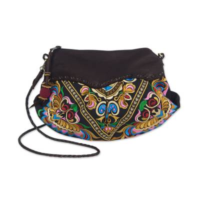 Leather accent shoulder bag, 'Espresso Mandarin Garden' - Embroidered Leather Accent Multicolor Handbag