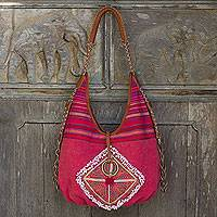 Leather accent cotton shoulder bag, 'Festive Karen Red' - Festive Handwoven Handbag with Leather and Embroidery